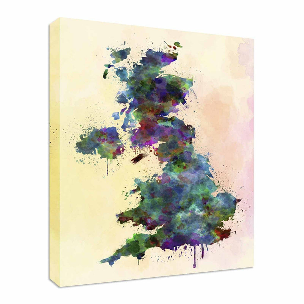 UK map watercolor Canvas Wall Art Picture Print