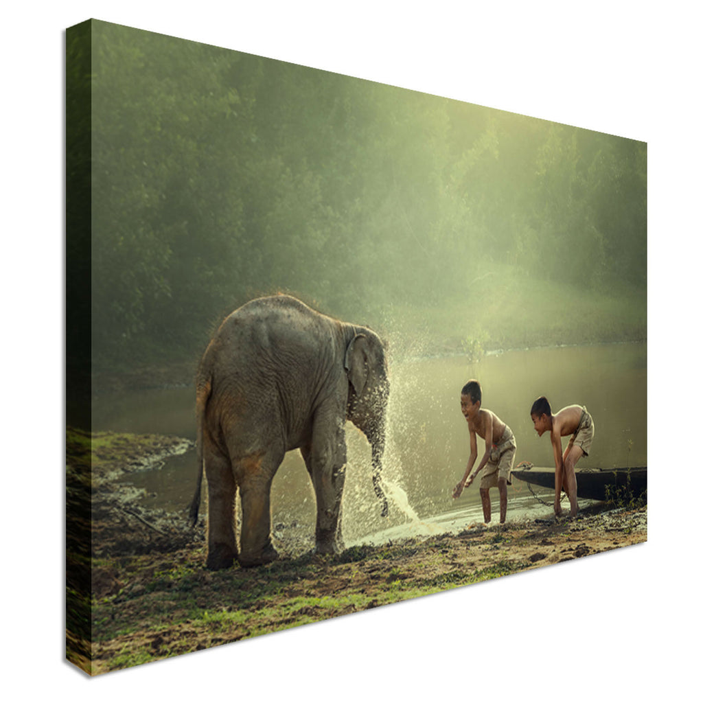 Elephant playing with children Canvas Wall Art Picture Print