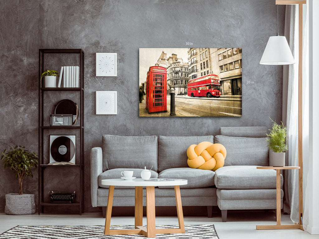 London Bus and Phonebox sepia Canvas Wall Art Picture Print