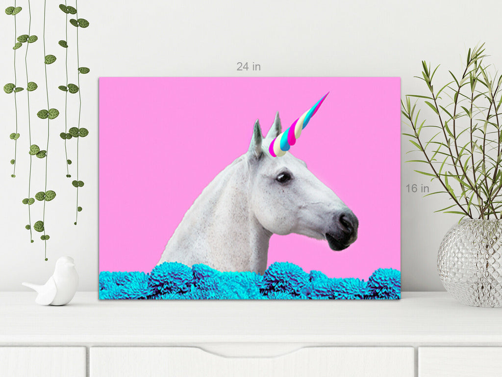 Unicorn Pink Background Canvas Wall Art Picture Print