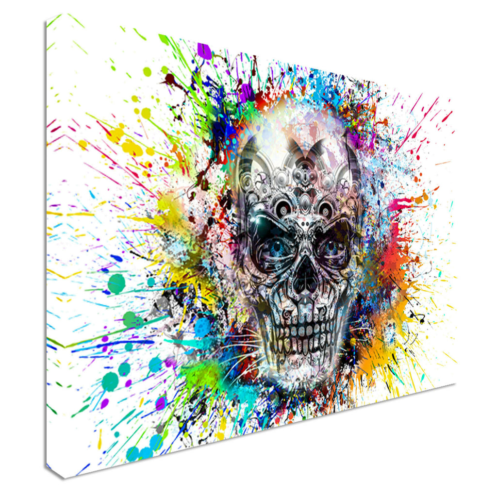 Modern Abstract Skull Splatter Canvas Wall Art Picture Print