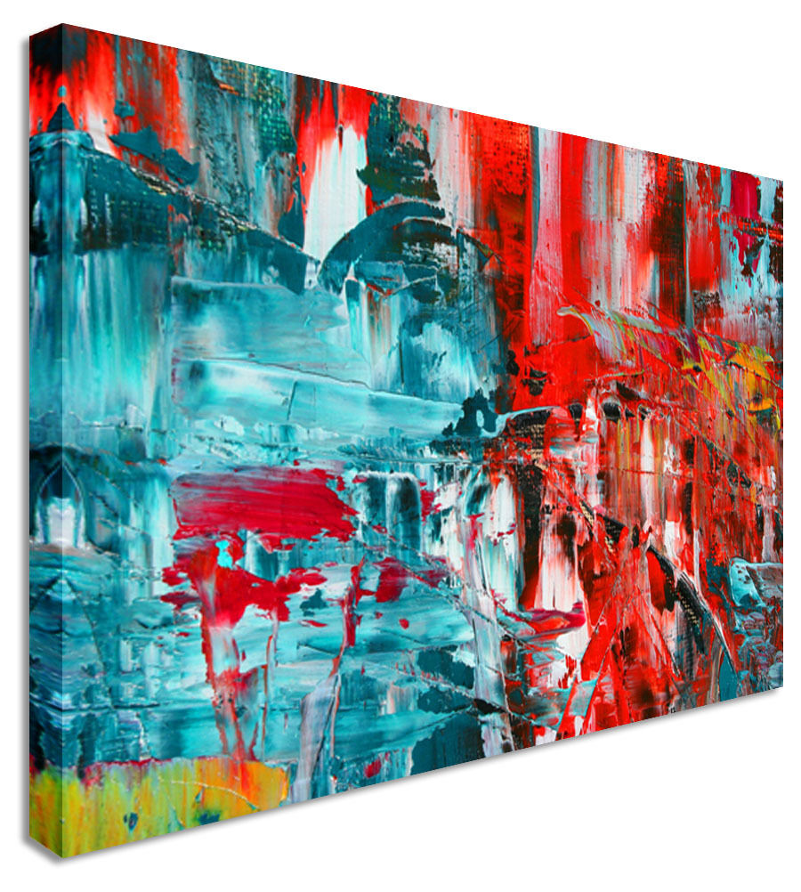 Abstract Painting Blue & Red Canvas Wall Art Picture Print