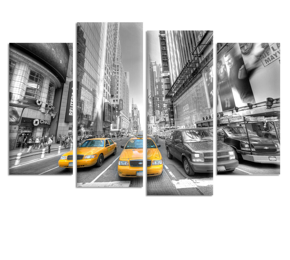 New York Taxi - Split  Canvas Wall Art Picture Print - 4 Panels