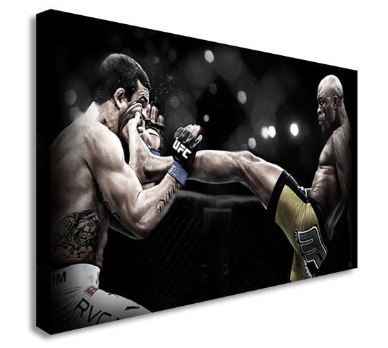 Anderson Silva Face Kick 40x20inches Wall Picture Canvas Art Cheap Print
