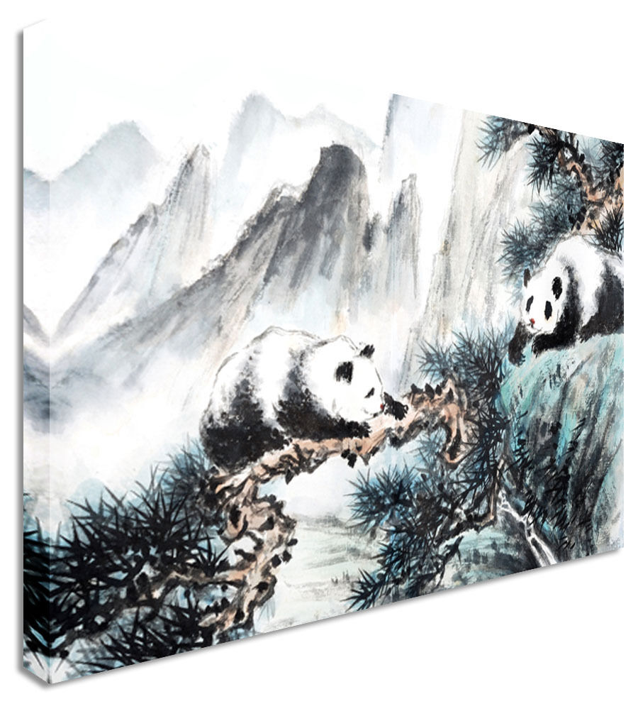 Japanese / Chinese Painting Climbing Pandas Canvas Wall Art Picture Print