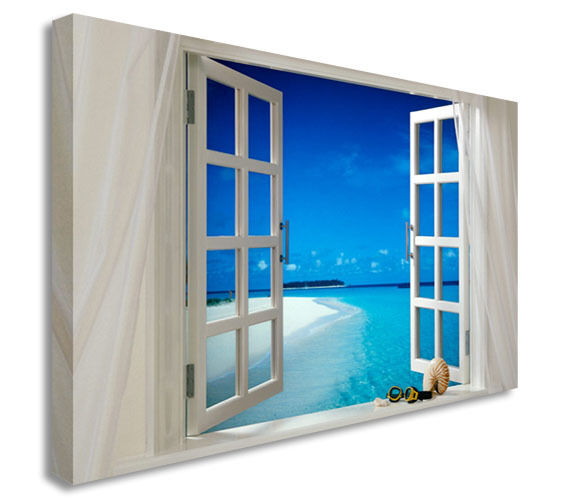 Tropical Window On Beach Canvas Wall Art Picture Print