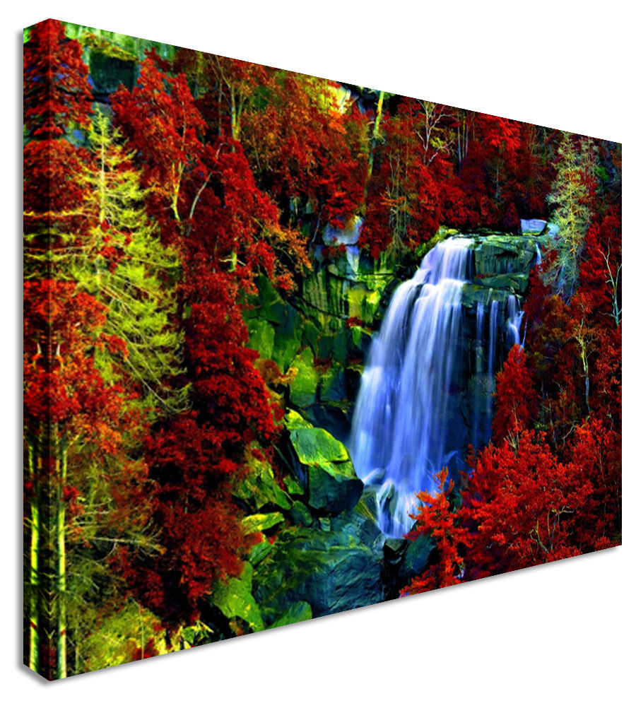 Waterfall Red Leaf Forest Canvas Wall Art Picture Print