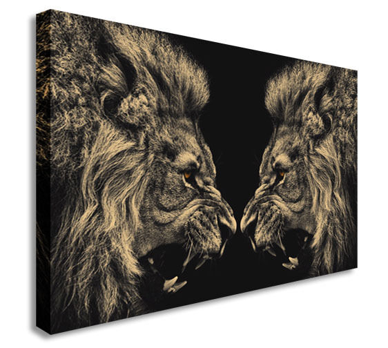 LEO Vs The Lion Animal Wall  Canvas Wall Art Picture Print