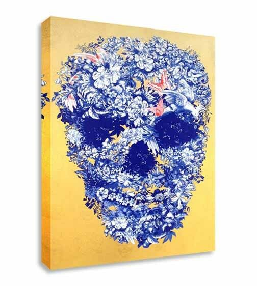 Abstract Floral Skull Canvas Wall Art Picture Print