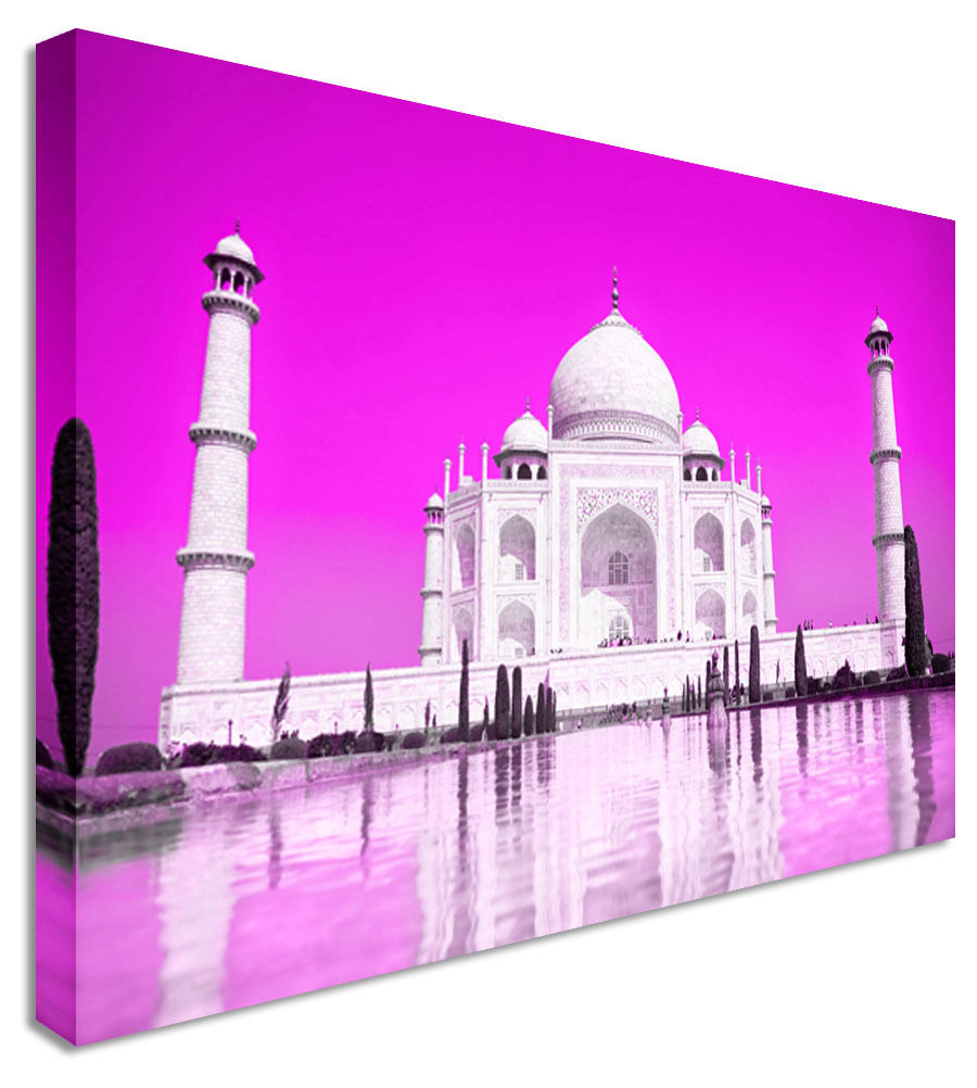 Abstract Taj Mahal Sky Purple Indian Canvas Wall Art Picture Print