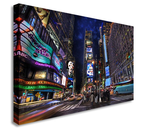 Times Square Night Canvas Wall Art Picture Print