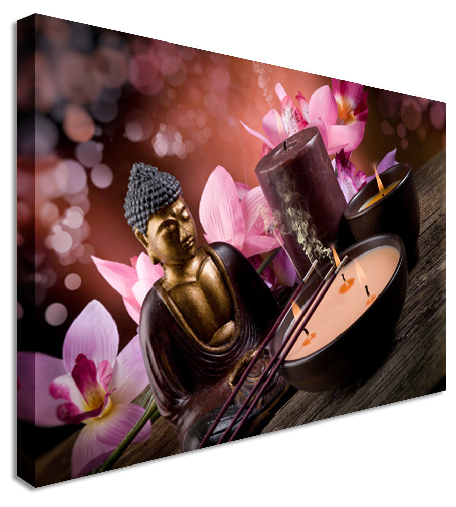 Pink and Purple zen calm Buddha Indian  Canvas Wall Art Picture Print