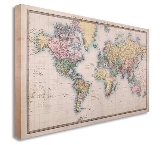 World Map Vintage  Canvas Wall Art Picture Print