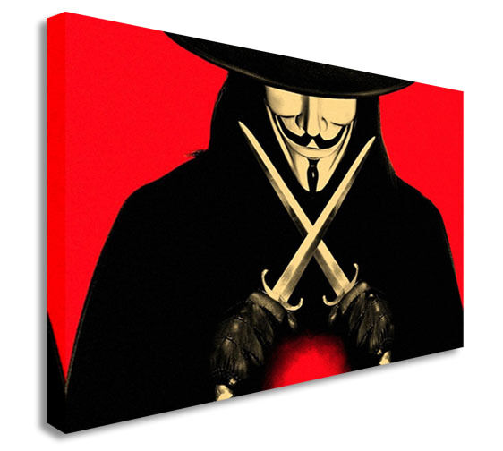 V is for Vendetta - Twin Knives - Mask Canvas Wall Art Picture Print