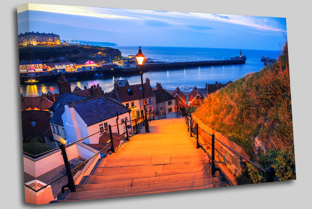 A view from the 199 steps in Whitby, North Yorkshire, UK. Canvas Wall Art Picture Print