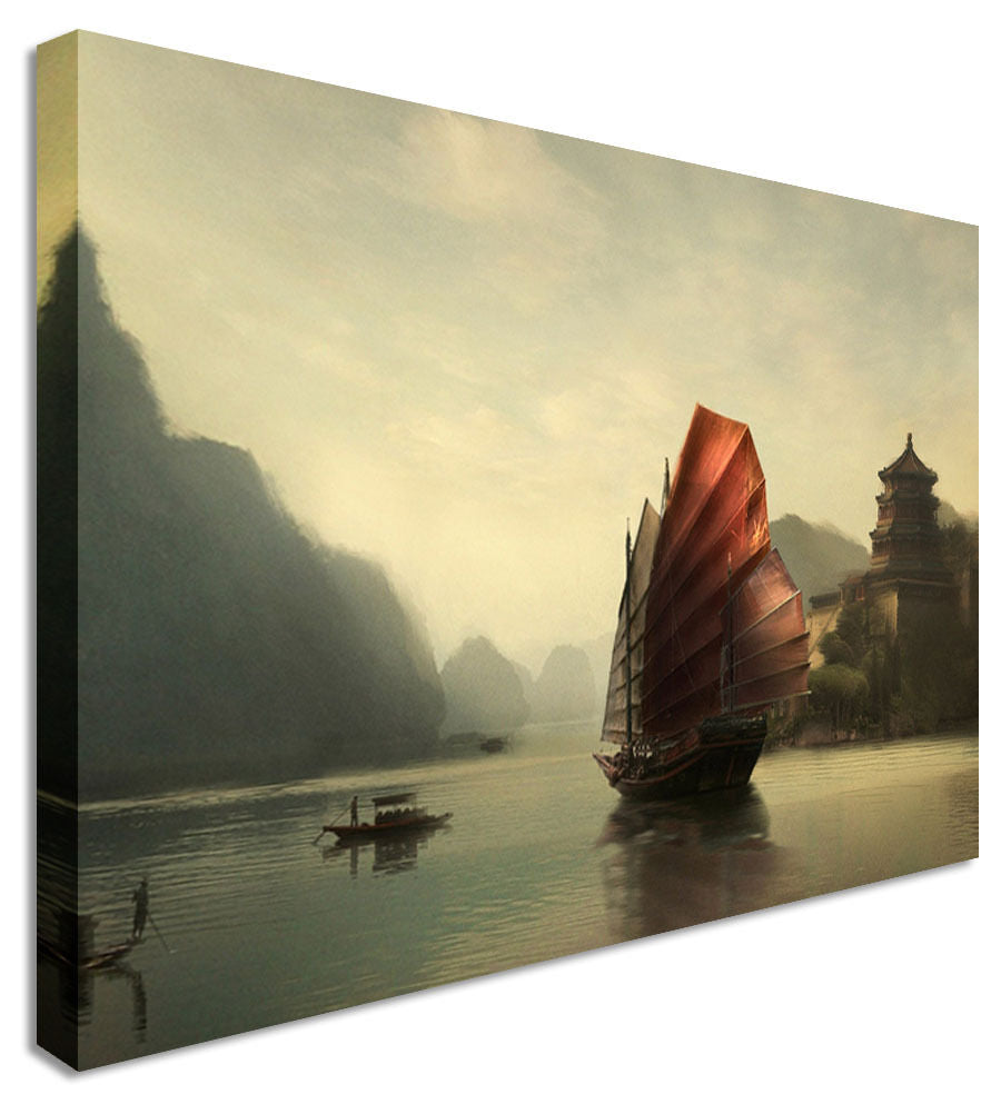 Picture Chinese Boat Sailer Canvas Wall Art Picture Print