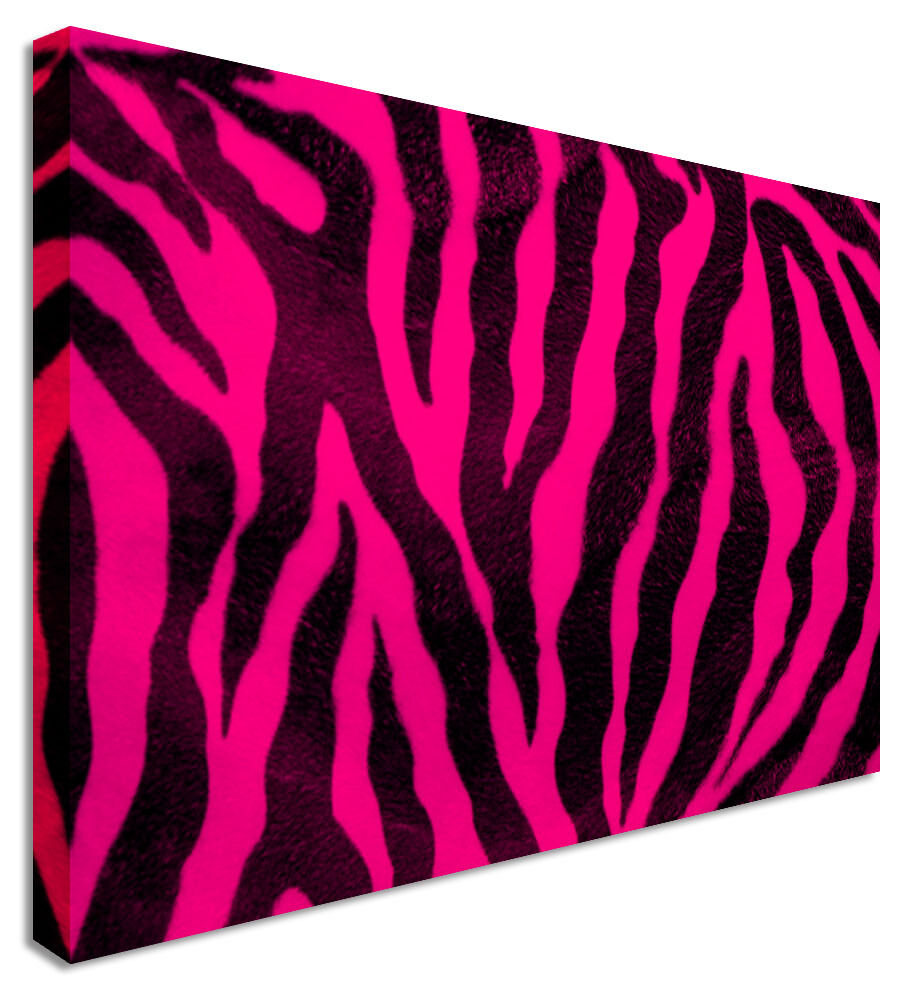 Hot Pink Zebra Canvas Wall Art Picture Print