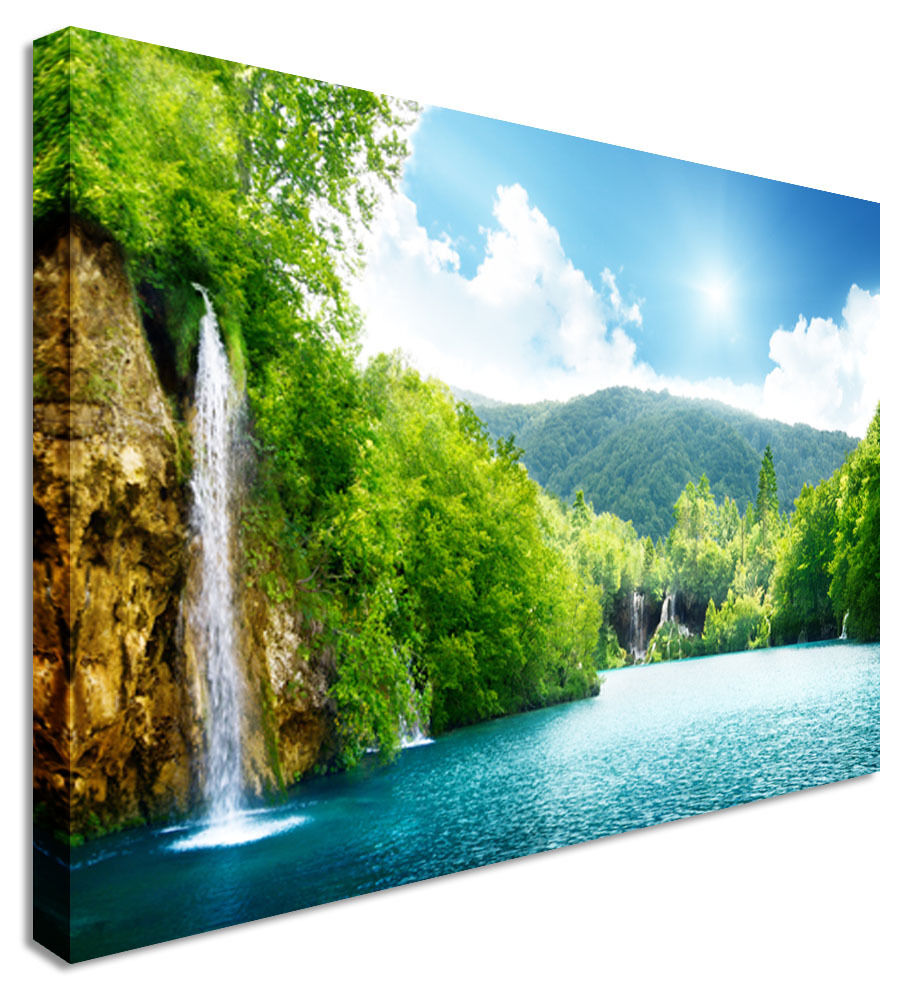 Picture Of Waterfall Forest Of Croatia Shine Canvas Wall Art Picture Print