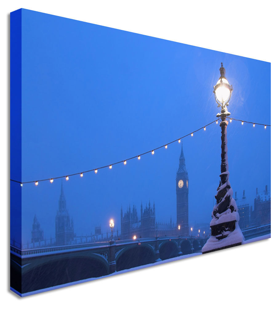 London Big Ben Snowy - Canvas Wall Art Picture Print