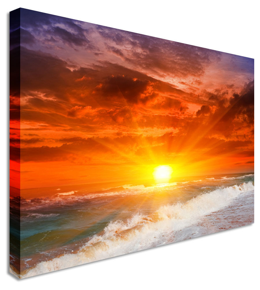 Flare Sunset Canvas Canvas Wall Art Picture Print