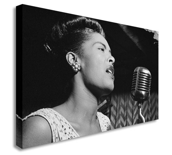 Billie Holiday Singing  Canvas Wall Art Picture Print