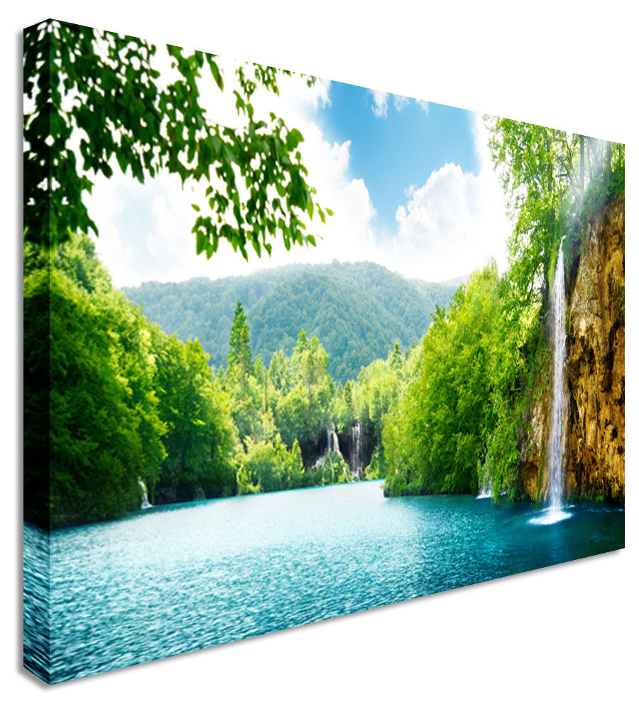 Waterfall Forest Of Croatia Splash Canvas Wall Art Picture Print