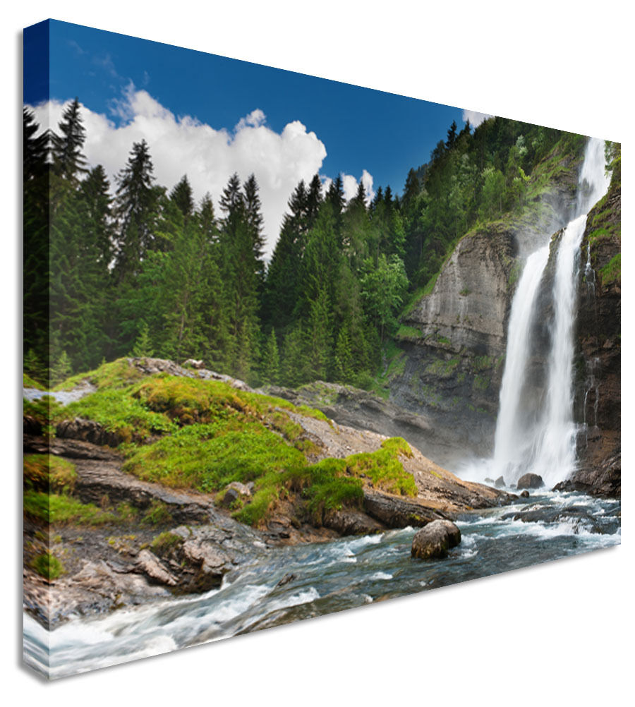 Picture Of Waterfall Alpine Mountain Canvas Wall Art Picture Print