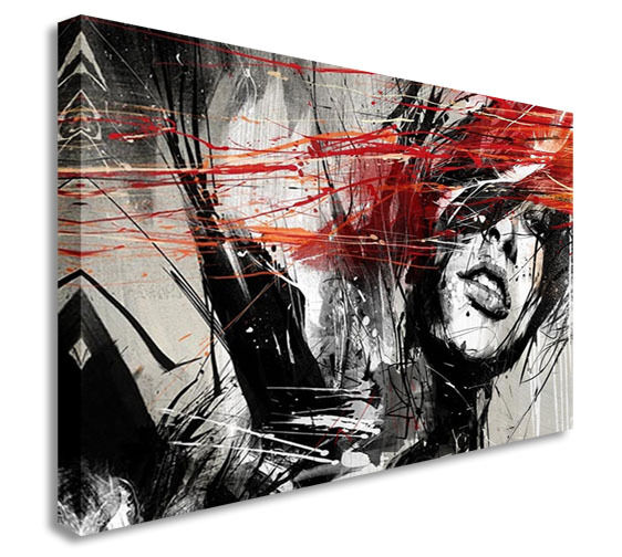 Abstract Women In Love - Slash Canvas Wall Art Picture Print
