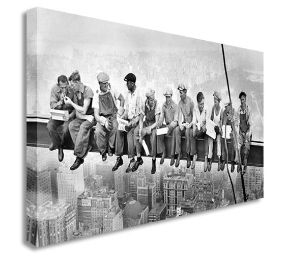 New York Lunch Skyscraper 40x20 inches Canvas Wall Art Picture Print