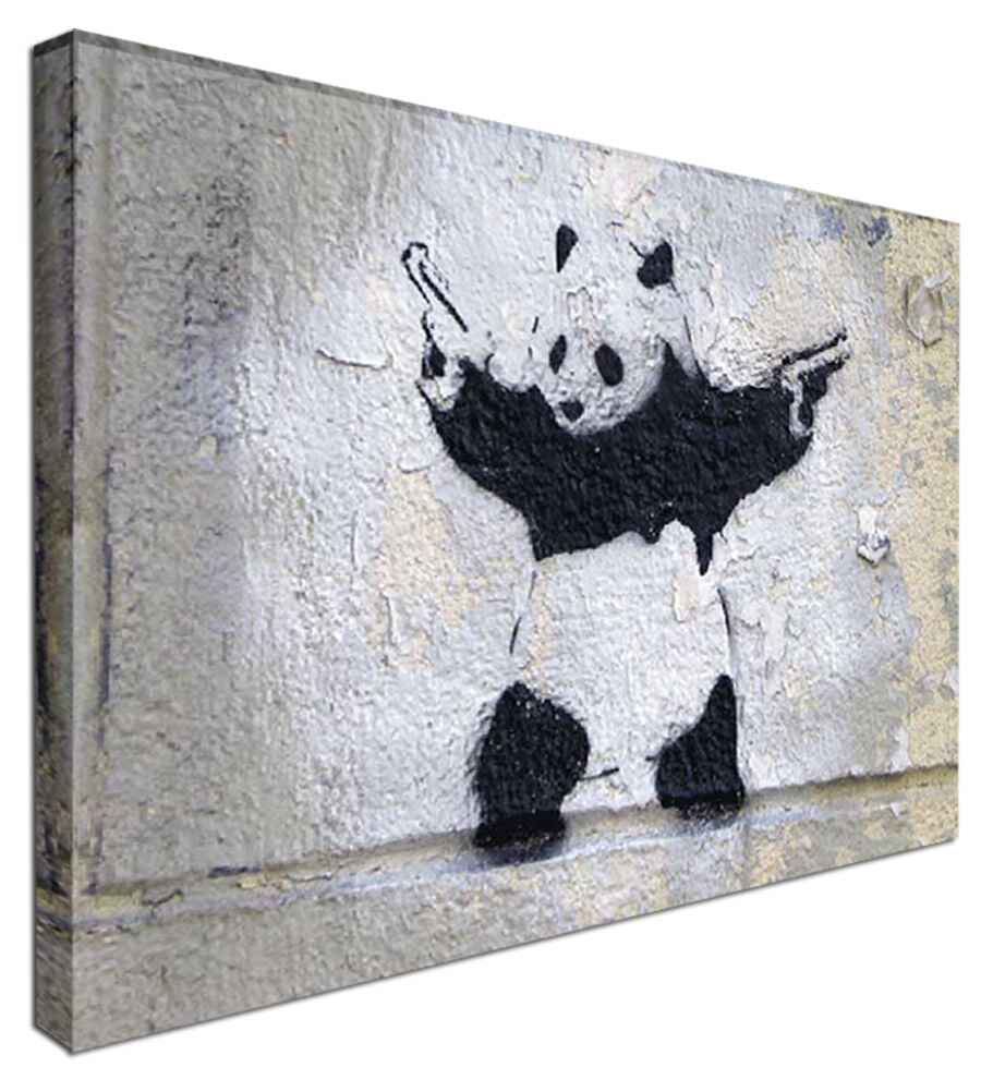 Banksy Panda with Guns - street Canvas Wall Art Picture Print