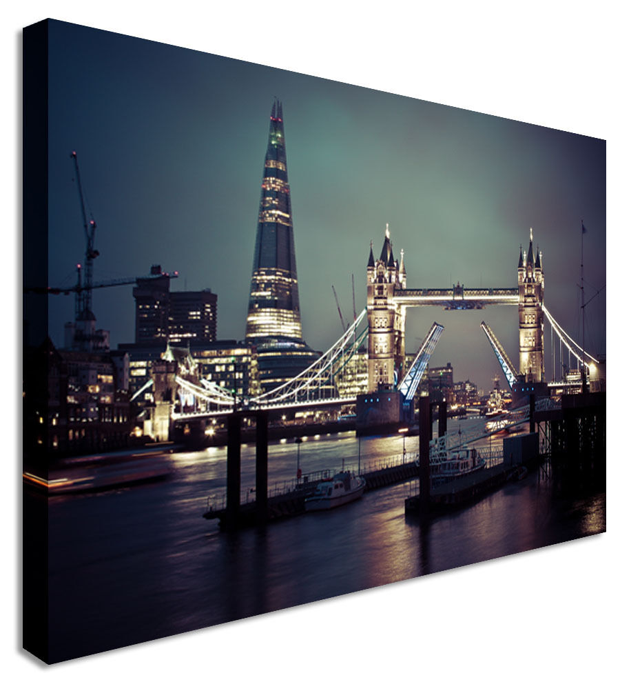 Picture The London Shard and Bridge Canvas Wall Art Picture Print