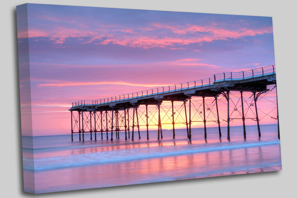 The pier at Saltburn-by-the-Sea, North Yorkshire, at dawn Canvas Wall Art Picture Print