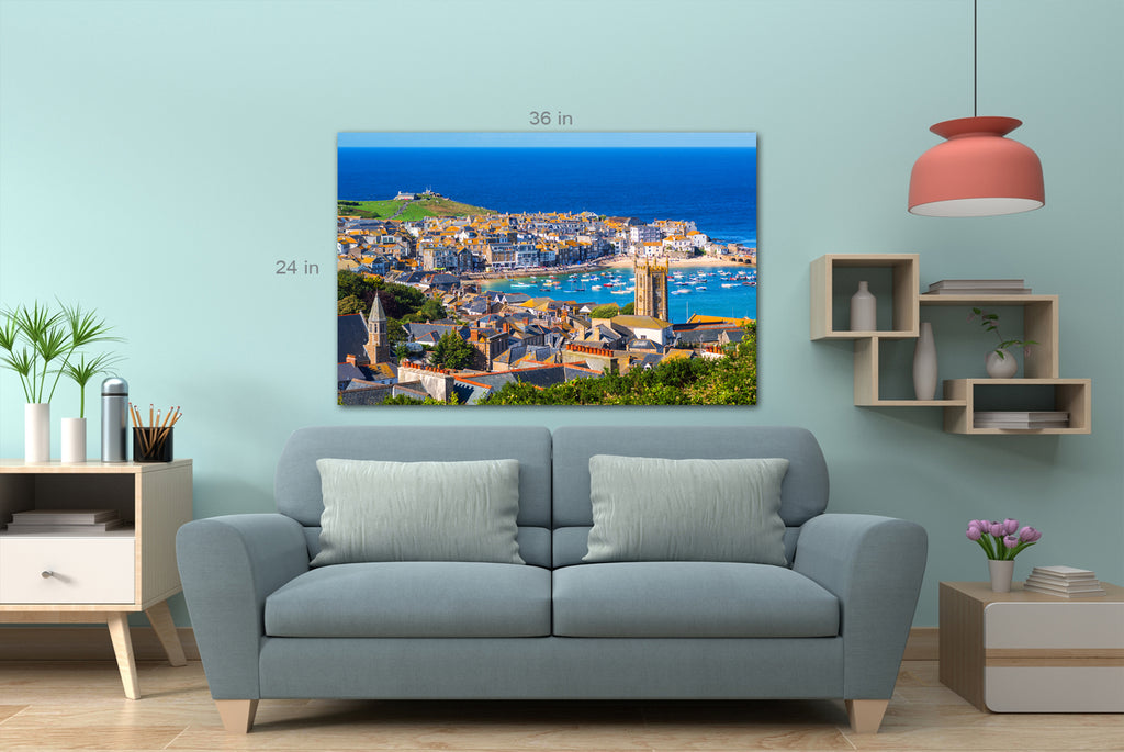 Picturesque St Ives, a popular seaside town and port in Cornwall, England Canvas Wall Art Picture Print