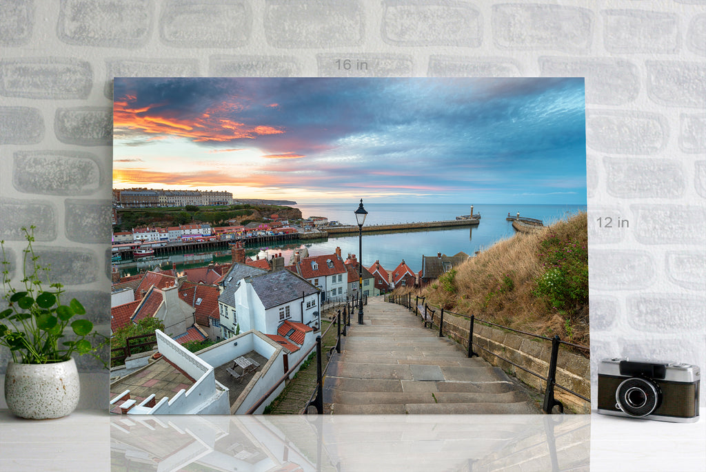 Stunning sunset over the 199 Steps leading down to Whitby harbour on the Yorkshire coast Wall Art Picture Print