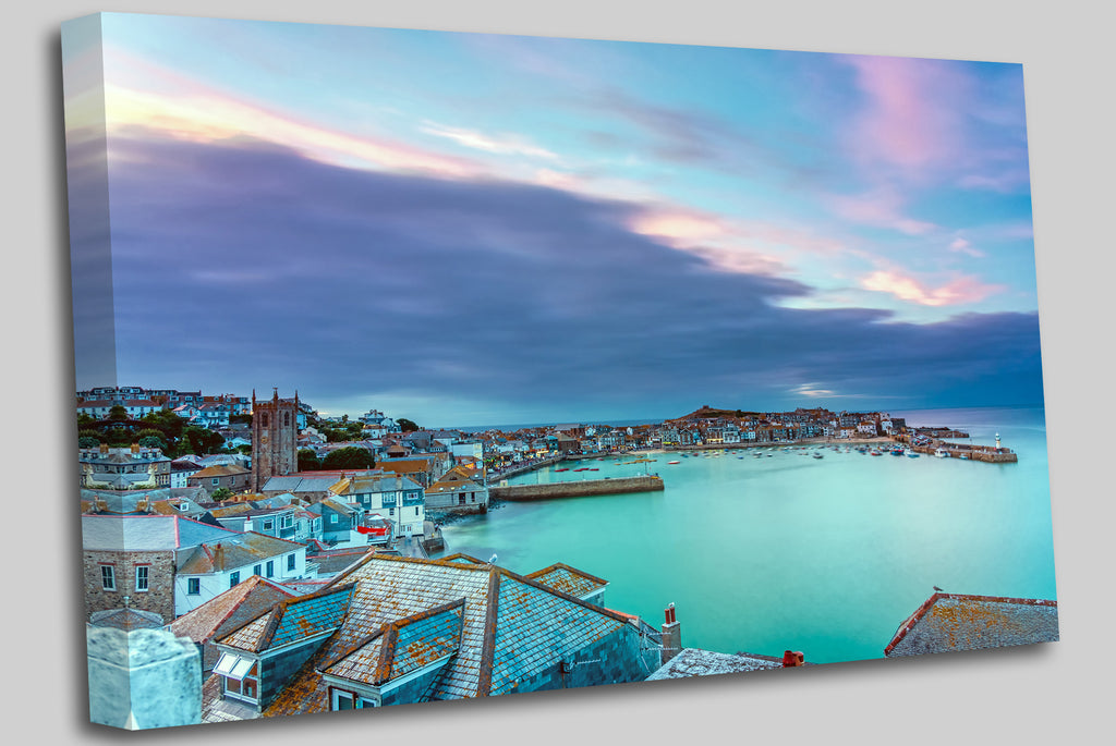 The beautiful seaside town of St. Ives in Cornwall, England, at dawn Canvas Wall Art Picture Print