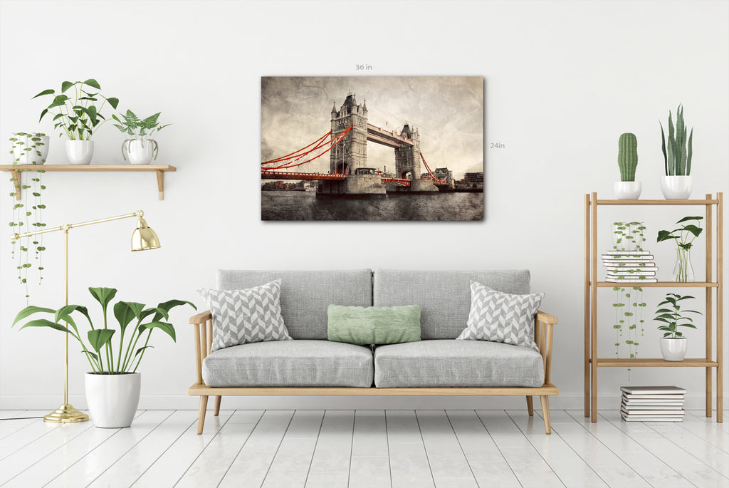 Tower Bridge in London, England, the UK. Artistic vintage, retro style with red elements Canvas Wall Art Picture Print