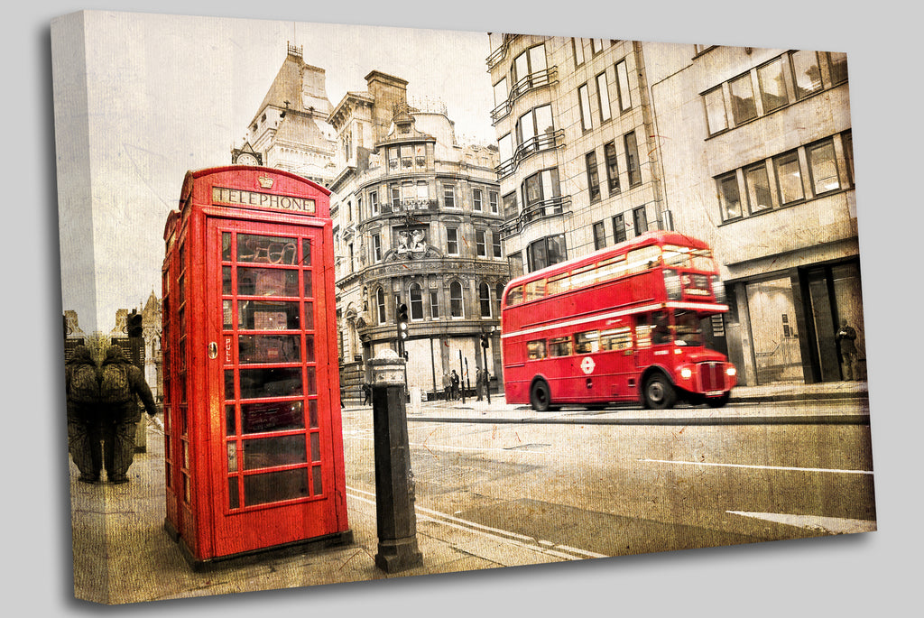 London bus and phone box  vintage sepia texture, London UK
