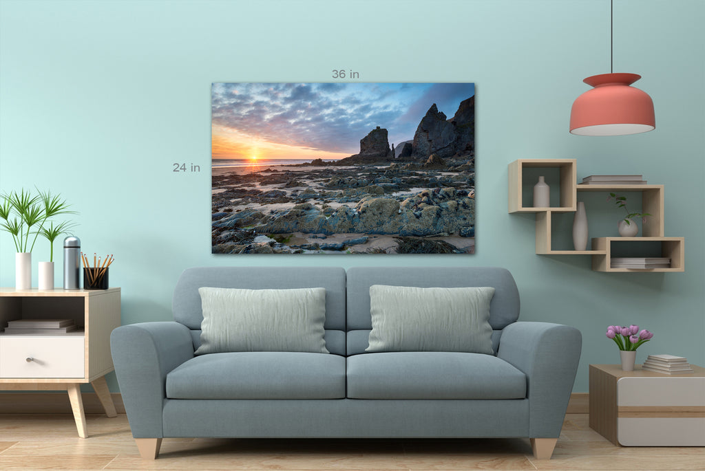 Sunset at Sandymouth Beach near Bude on the north Cornwall coast Wall Art Picture Print