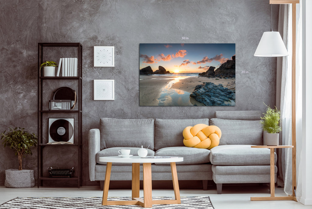 Sunset at Porthcothan bay on the north Cornwall coast Wall Art Picture Print