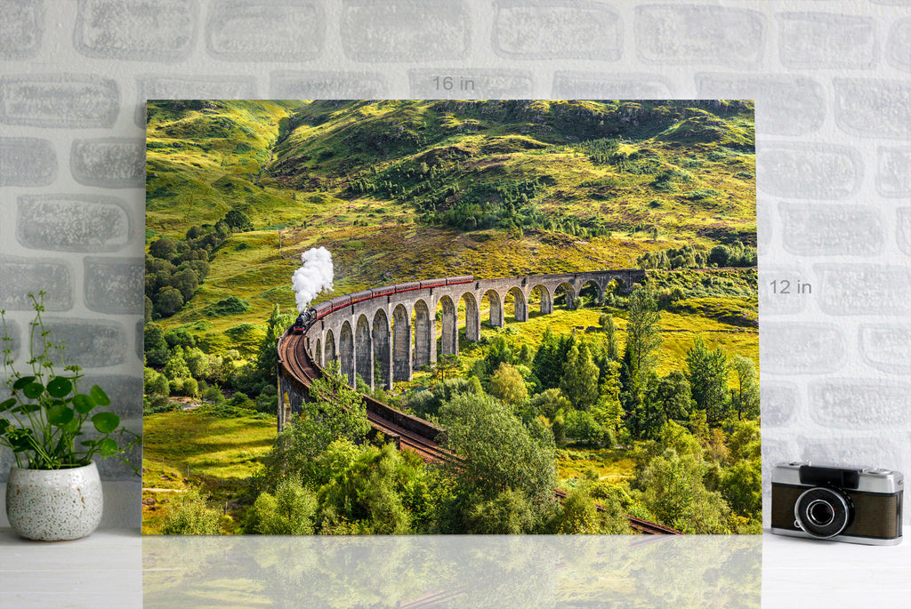 Glenfinnan Railway Viaduct in Scotland with the Jacobite steam train passing over Canvas Wall Art Picture Print
