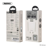Remax Charger with Dual USB Ports and Data Cable RP-U14 Pro for Lightning 2.4A - White