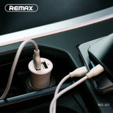 Remax Rocket Car Charger Set RCC-217 2.4A with 3-in-1 Cable - Black