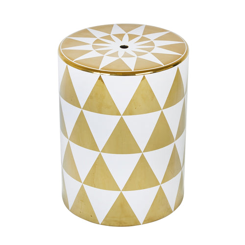 WHITE/GOLD TRIANGLE GARDEN STOOL