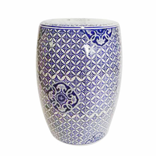 WHITE/BLUE PATTERNED GARDEN STOOL