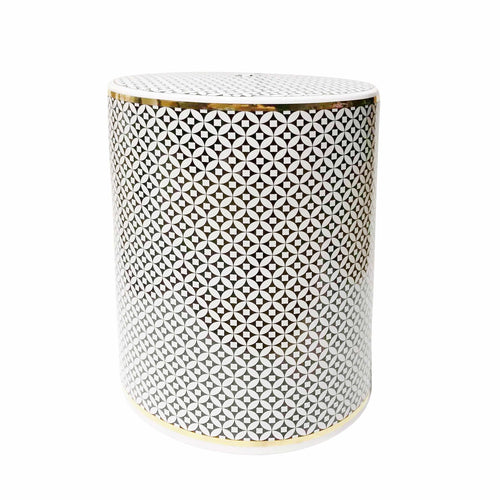 WHITE/BLACK/GOLD GARDEN STOOL