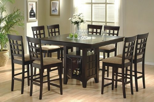 9 Piece Counter Height Storage Dining Table w/Lazy Susan & Chair Set