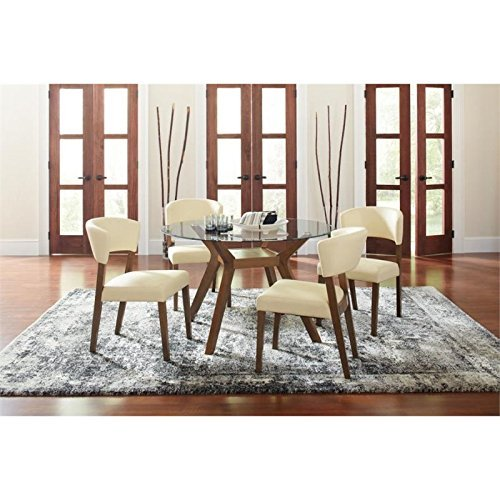Paxton 5-Piece Dining Set with Upholstered Nutmeg and Cream