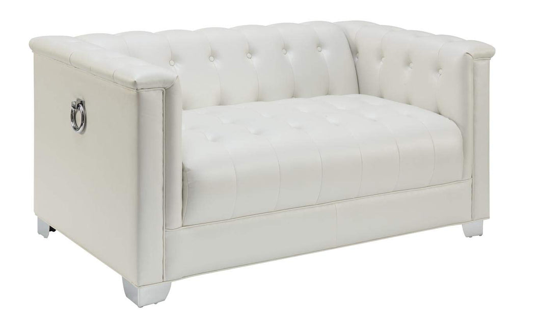 Coaster Tufted Loveseat, white