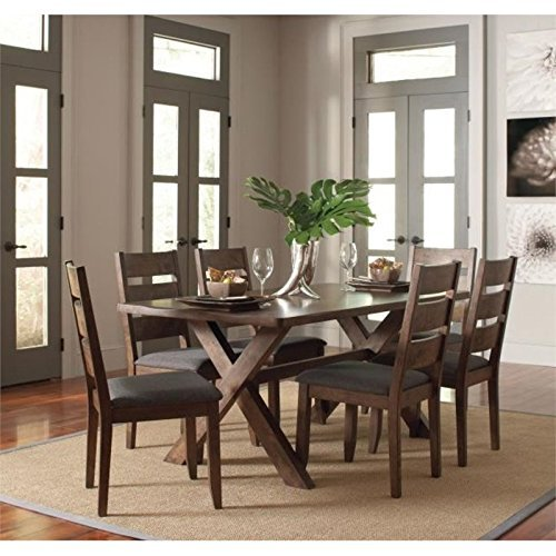 Alston 5-Piece Dining Set with Trestle Table Knotty Nutmeg and Grey