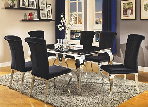 Carone 5-Piece Dining Set with Upholstered Side Chairs Black
